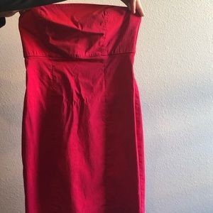 Express Red Strapless Stretchy Mini-Dress